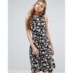 Trollied Dolly Floral Sketch Print Dress ($39) ❤ liked on Polyvore featuring dresses, black, flower print dress, pattern dress, tall dresses, floral pattern dress and woven dress