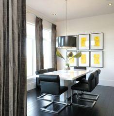 schwarze freischwinger Stühle-Esszimmer-gelbe Wanddekoration