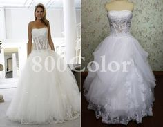 Soft romantic sweetheart tulle wedding dress. $245.00, via Etsy.