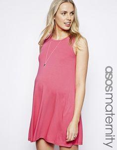 pink sleeveless maternity dress