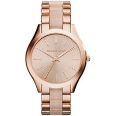 Michael Kors Runway Rose Golden Watch ($240) ❤ liked on Polyvore featuring jewelry, watches, rose gold, rose golden watches, stainless steel wrist watch, golden jewelry, michael kors and dial watches