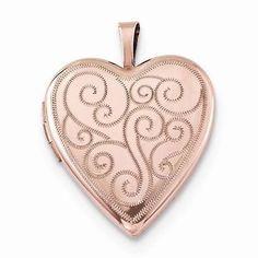 "NEW ROSE GOLD OVER 925 STERLING SILVER HEART SWIRL PHOTO LOCKET .78"" PENDANT #Locket"
