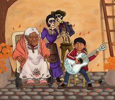 Miguel Rivera, Hector and Imelda and his great grandmother, Mama Coco from Coco Disney Fan Art, Disney Love, Disney Magic, Pixar Movies, Movie Characters, Disney Animation, Animation Film, Disney And Dreamworks, Disney Pixar