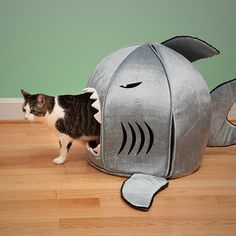 Check out this fun shark attack pet bed.