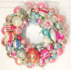 Ornament Wreath: change to more traditional colors. Neat idea for recycling old styles
