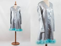 1960s dress, lurex silver blue, shimmering dress, fur border, turquoise dress, 60s blue dress, 60s night out dress, sartorial made by MyLoftVintage on Etsy