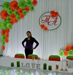 green wedding paper backdrop