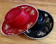 Pair Midcentury Vintage 1950s Cowboy Hats Red Black Straw Child Western Printed | eBay