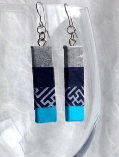 Grey Blue Earrings Hanji Paper Earrings OOAK by HanjiNaty on Etsy