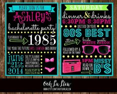 Neon 80s Bachelorette Party Invitation Double Sided by OohLaLlew, $3.00