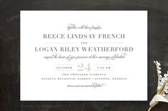 """""""Classical"""" - Elegant, Classical Wedding Invitations in Taupe by Jessica Williams."""