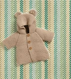 Bear Hooded Coat Baby Boy Knits, Toddler Knit Coat, Newborn Knit Coat, Newborn to all Toddler sizes