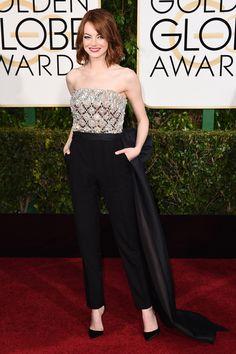 Emma Stone arrives on the 2015 Golden Globe Awards Red Carpet in a Lanvin embellished jumpsuit.