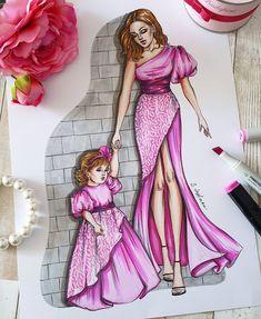 Fashion Drawing Dresses, Fashion Illustration Dresses, Dress Design Drawing, Dress Drawing, Fashion Design Drawings, Fashion Sketches, Mom Daughter Matching Dresses, Fashion Vocabulary, Fashion Sketchbook