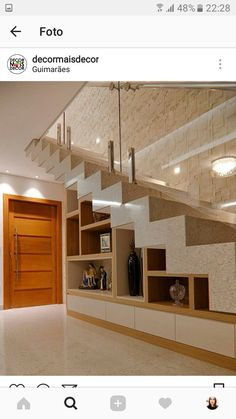 Stair for tiny house ideas stair shelves, staircase storage, loft stair Stair Shelves, Staircase Storage, House Staircase, Loft Stairs, Home Stairs Design, Interior Stairs, Interior Design Living Room, Stairs In Living Room, Stair Decor