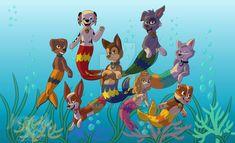 PAW Patrol 'Mer-pups' by kreazea Zuma Paw Patrol, Paw Patrol Pups, Dog Drawing Tutorial, Paw Patrol Birthday Cake, Tmnt, Cartoon Wallpaper Iphone, Disney Dogs, Mermaid Tale, Nickelodeon