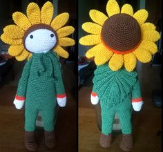 Sunflower Sam flower doll made by Samantha M - crochet pattern by Zabbez