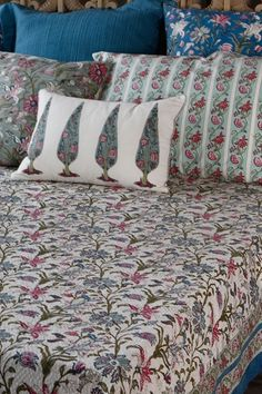 """NISHAAT JAAL HAND BLOCK PIQUE BED COVER """"If ever there is a heaven on earth, it is here, it is here, it is here!"""" A #luxurious bedspread in ivory pique with a fine hand block printed all over floral jaal inspired by the Nishat gardens of kashmir, a part of the #FarahBaksh collection.  Our #handcrafted textiles might have some color and weave variations, this is part of the charm of the product. Shop this bed cover on our #WebBoutique . #BedStories #HandBlockPrint #Nishaat #DesignStory"""