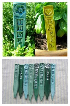 Garden & Herb Stakes Green U-Pick Stamped Marker Set/4 - California Pottery Ceramic Clay Art - Gift   $14.00  #handmade #gardenmarker