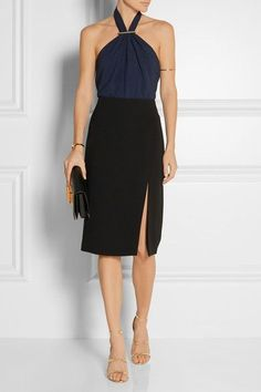 JASON WU Stretch-crepe halterneck top$795 | Jason Wu's crepe top is gathered at the front with a gunmetal-tone pin to create a flattering halterneck. Crafted with plenty of stretch, this midnight-blue style is cut for a slightly loose, forgiving fit. Tuck yours into a black pencil skirt post-six.
