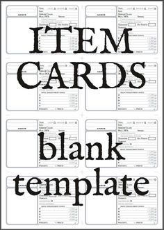 Item Cards (Blank Printable) - This is a PDF file with three layers*. - print these out ( preferably on paper ) - cut them out int Dungeons And Dragons Adventures, Dungeons And Dragons Game, Dungeons And Dragons Homebrew, Card Printing, Printing Labels, Dnd Spell Cards, Magic The Gathering Sets, Dnd Art, Text Background