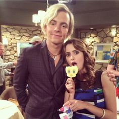 Cute. Taken at one of the austin and ally wrap parties by laura's mom.