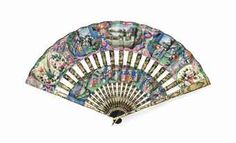 A CANTONESE CABRIOLET FAN 19TH CENTURY The two paper leaf panels decorated with ivory-faced figures in a pavilion, birds perching on rocks amongst flowers, the lacquered sticks are gilt-decorated.