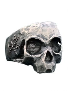 """Gratfully Dead Skull"" Ring by Lor G Jewellery (Silver)"