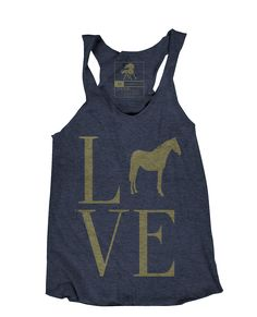 Love your horse in our Love Horse racerback tank. Our Love Horse tank top is made from our vintage soft tri-blend fabric. This shirt feels super comfortable and has that extra worn feeling. Hand print