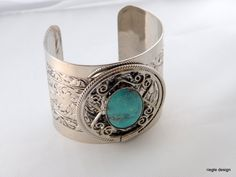 Vintage Turquoise and Silver Cuff Bracelet by riegledesign on Etsy, $20.00