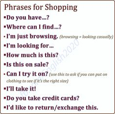 Phrases for Shopping