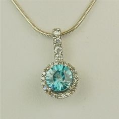 Blue Zircon Necklace Sterling Silver 6mm 1.05ct Set by Gusgusgems