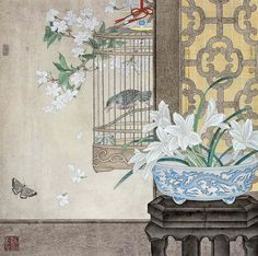 Korean Painting, Chinese Landscape Painting, Garden Painting, Chinese Painting, Ink Painting, Watercolor Paintings, Chinese Contemporary Art, Wildflower Tattoo, China Art