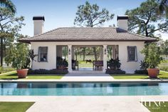 Design Insight from the Editors of Luxe Interiors + Design Pool House Designs, Swimming Pool Designs, Outdoor Rooms, Outdoor Living, Small Pool Houses, Pool House Plans, Pool Colors, Pool Cabana, Pool Landscaping