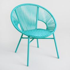 Round Maui Blue All Weather Wicker Camden Outdoor Patio Chair by World Market - Modern Eames Chairs, Patio Chairs, Outdoor Chairs, Outdoor Furniture, Outdoor Decor, Arm Chairs, Blue Chairs, Folding Chairs, Dining Chairs