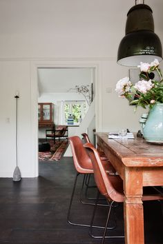 leather + wood dining room