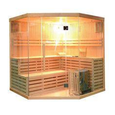 Aleko Canadian Hemlock Wood Indoor Wet Dry Sauna with 6 KW ETL Electrical Heater, Multicolor Dry Sauna, Steam Sauna, Indoor Sauna, Indoor Outdoor, Canadian Hemlock, Sauna Room, Sauna House, Tempered Glass Door, Steam Room