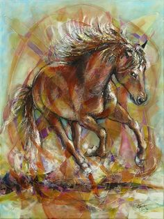 Horse  abstract modern painting on a canvas. by artpucik on Etsy Wind In My Hair, Artist Signatures, Mixed Media Canvas, Horses, Abstract, Mj, Artwork, Painting, Etsy