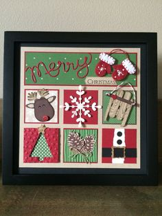Christmas DIY Picture Frame Ideas for Decorating Your Space so that a Looks Festive Christmas Paper Crafts, Homemade Christmas Cards, Christmas Projects, Handmade Christmas, Homemade Cards, Holiday Crafts, Christmas Crafts, Christmas Blocks, Christmas Collage