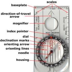 Good guide on using a compass for Cadettes working on their Trailblazing badge