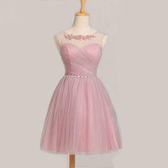 Elegant A Line School Homecoming Dresses Scoop Applique Crystals Sash Short Cocktail Prom Bridesmaid Gowns