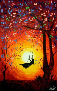 Original Abstract Painting  The Swing  Acrylic by ArtonlineGallery