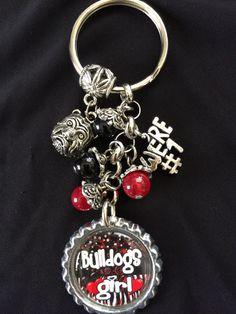 University of Georgia Bulldogs Inspired  Bottle Cap Charm  Key Chain Handmade #Georgie