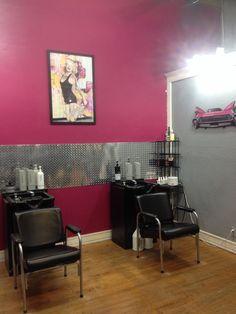 Diamond Plate Backsplash, Pink Salon, Retro Salon, Keratin Complex