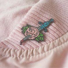 Pink Bleeding Rose Enamel Pin