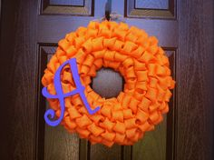 """Bubble Burlap Wreath with Monogram Initial Choose Your Color - 19"""" on Etsy, $47.00"""