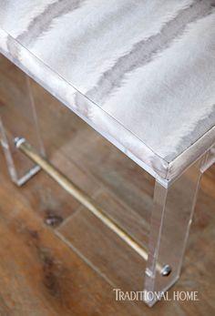 "Sleek acrylic bar stools upholstered in Stark's ""Zibeline"" fabric seem to float above the fumed oak floors. Texas Kitchen, Rustic Kitchen, Kitchen Ideas, Lucite Furniture, Furniture Ideas, Acrylic Bar Stools, Upholstered Bar Stools, Island With Seating, Compact Kitchen"