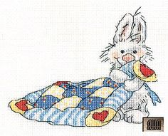 Bunny w/ blanket *After* Page is in Russian. Too cute!