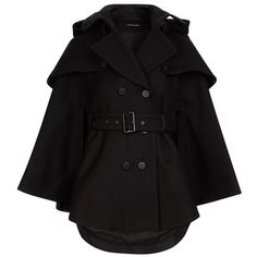 Comptoir Des Cotonniers Trench-Cape. Sakura - Colour Black ($23,680) ❤ liked on Polyvore featuring outerwear, coats, jackets, capes, coats & jackets, evening cape, hooded coats, black hooded coat, black trenchcoat and comptoir des cotonniers