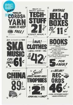 Newspaper design for MoMA garage sale by Kelli Anderson.